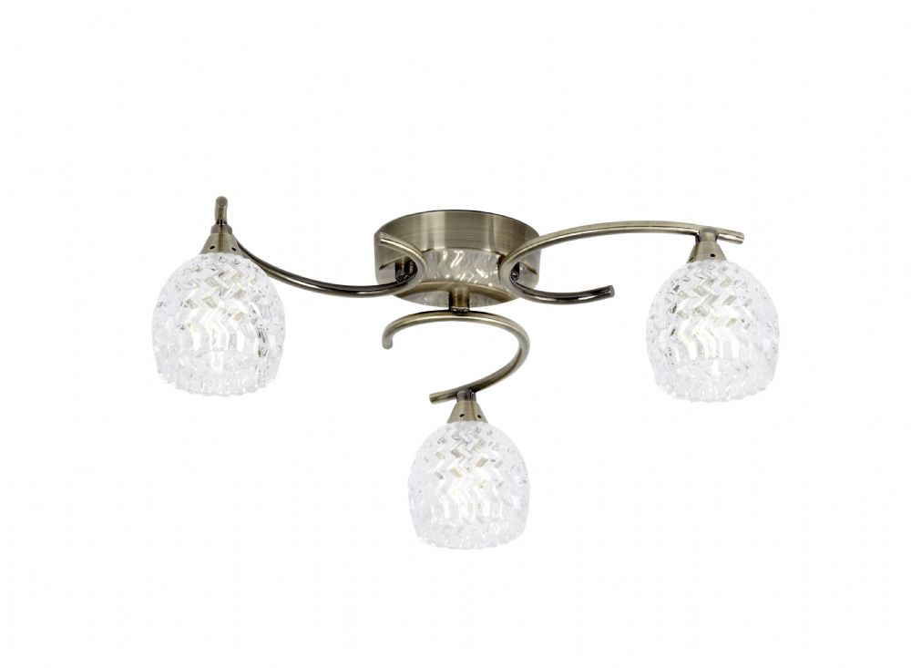3 Light Ceiling Fitting In Antique Brass With Glass Shades BOYER-3AB